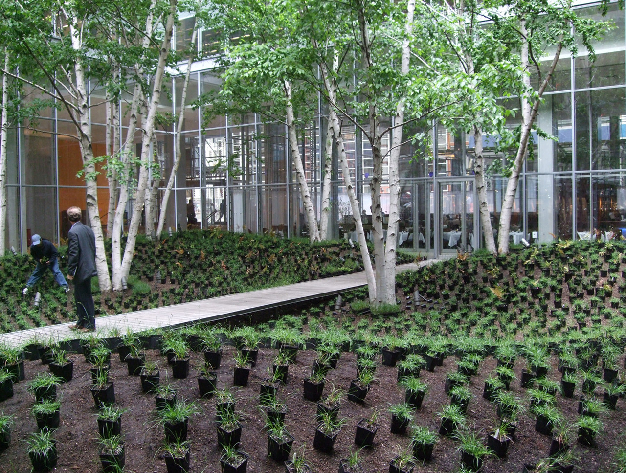 Gallery of the new york times building lobby garden hm for Garden construction