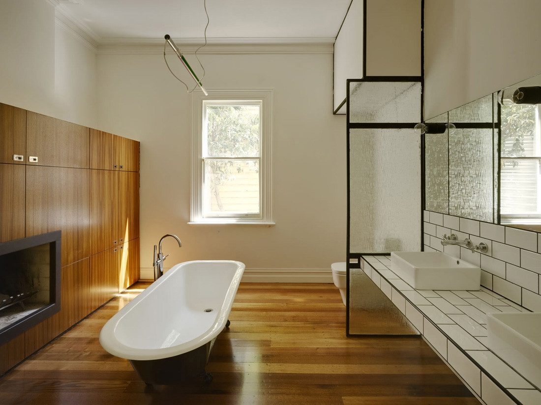 Gallery of barrow house austin maynard architects 14 for Wood floor bathroom
