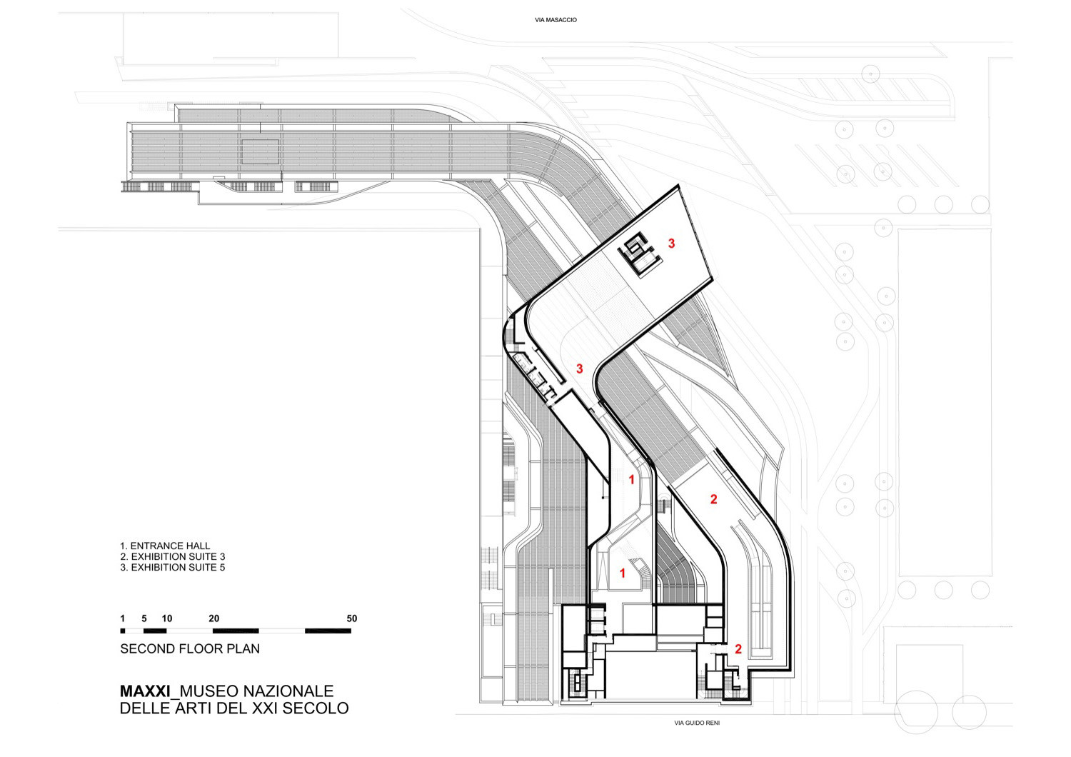 Gallery of maxxi museum zaha hadid architects 22 for Architectural floor plan drawings