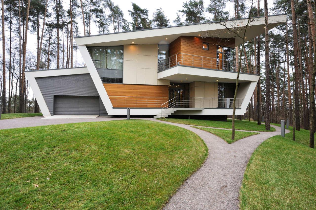 Фасады домов в стиле хай-тек фото
