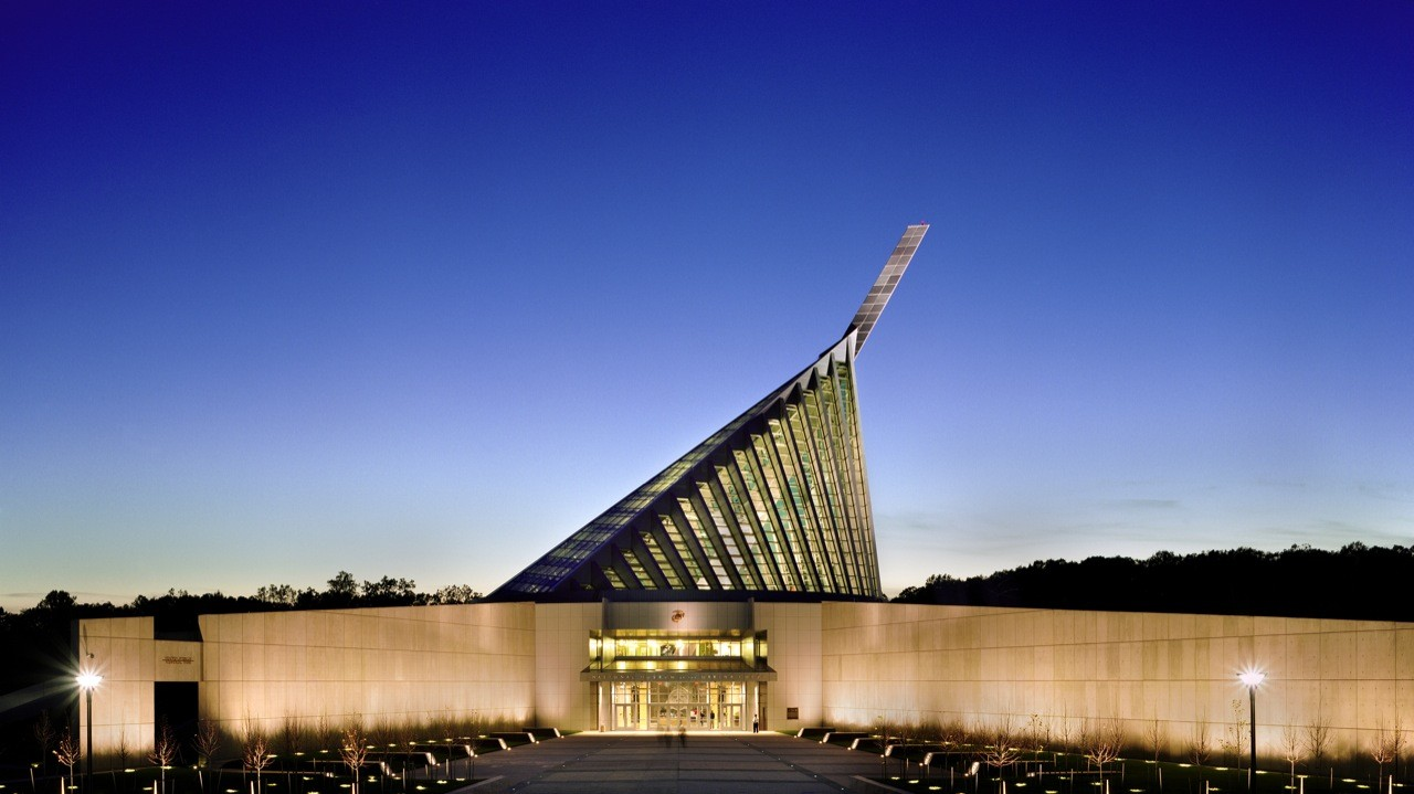 Front entrance to the USMC museum at night