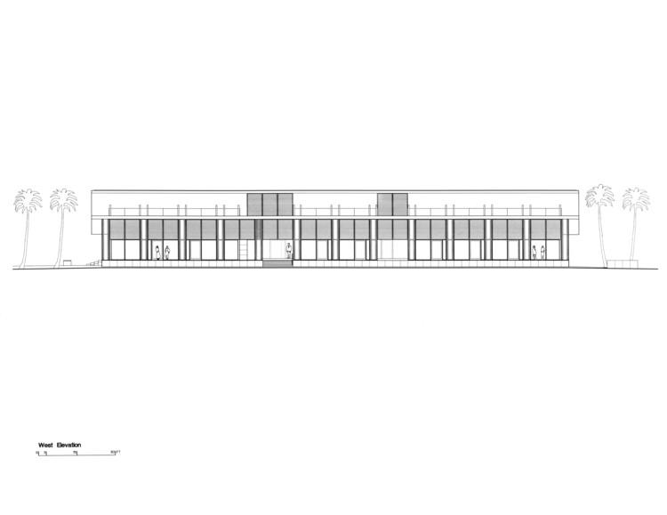 West Elevation, Courtesy of Richard Meier & Partners Architects