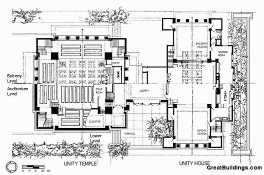 Ad classics unity temple frank lloyd wright archdaily for Zimmerman house floor plan