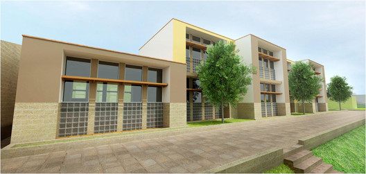 Rendering of the new classroom building planned for the Pitagoras School in Lima.