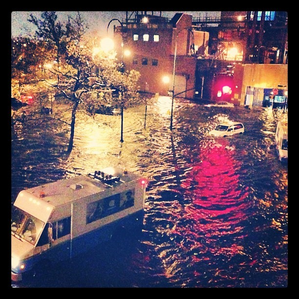 "On Avenue C and 14th. Instagram User megetz: ""The water came up to my knees when I joined my neighbors on the front stoop."""