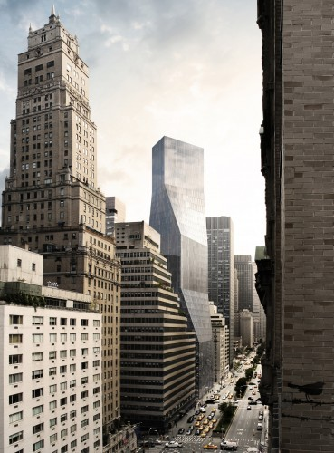 OMA's proposal for 425 Park Avenue. View from Pepsi Cola Building © Courtesy of OMA
