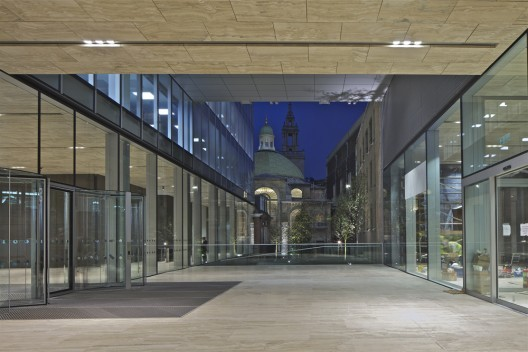 Rothschild Bank Headquarters, Forecourt and St Stephen Walbrook at night © OMA by Philippe Ruault