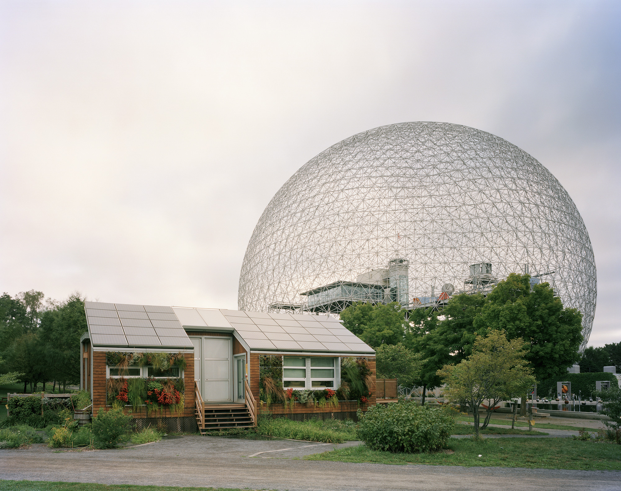 "Montreal 1967 World's Fair, ""Man and His World,"" Buckminster Fuller's Geodesic Dome With Solar Experimental House, 2012. Photo © Jade Doskow."