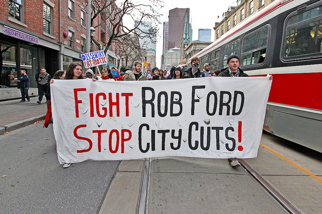 OccupyToronto: Evict Rob Ford March (November 19, 2011). Photo via Flickr User CC Jackman Ciu. Used under <a href='https://creativecommons.org/licenses/by-sa/2.0/'>Creative Commons</a>