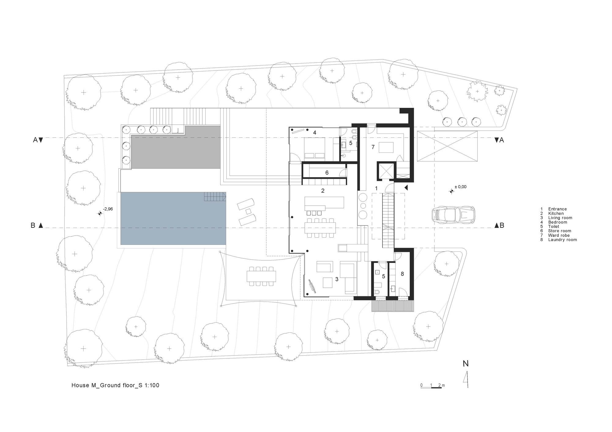 Gallery of house m monovolume architecture design 43 - Contemporary floor plans for new homes paint ...