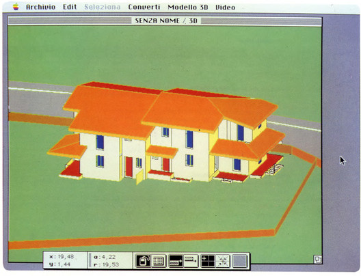 """This screenshot from Radar CH (later ArchiCAD) shows how far BIM modeling capabilities had developed by 1984, the first major BIM release on a personal computer."" Image via Graphisoft"