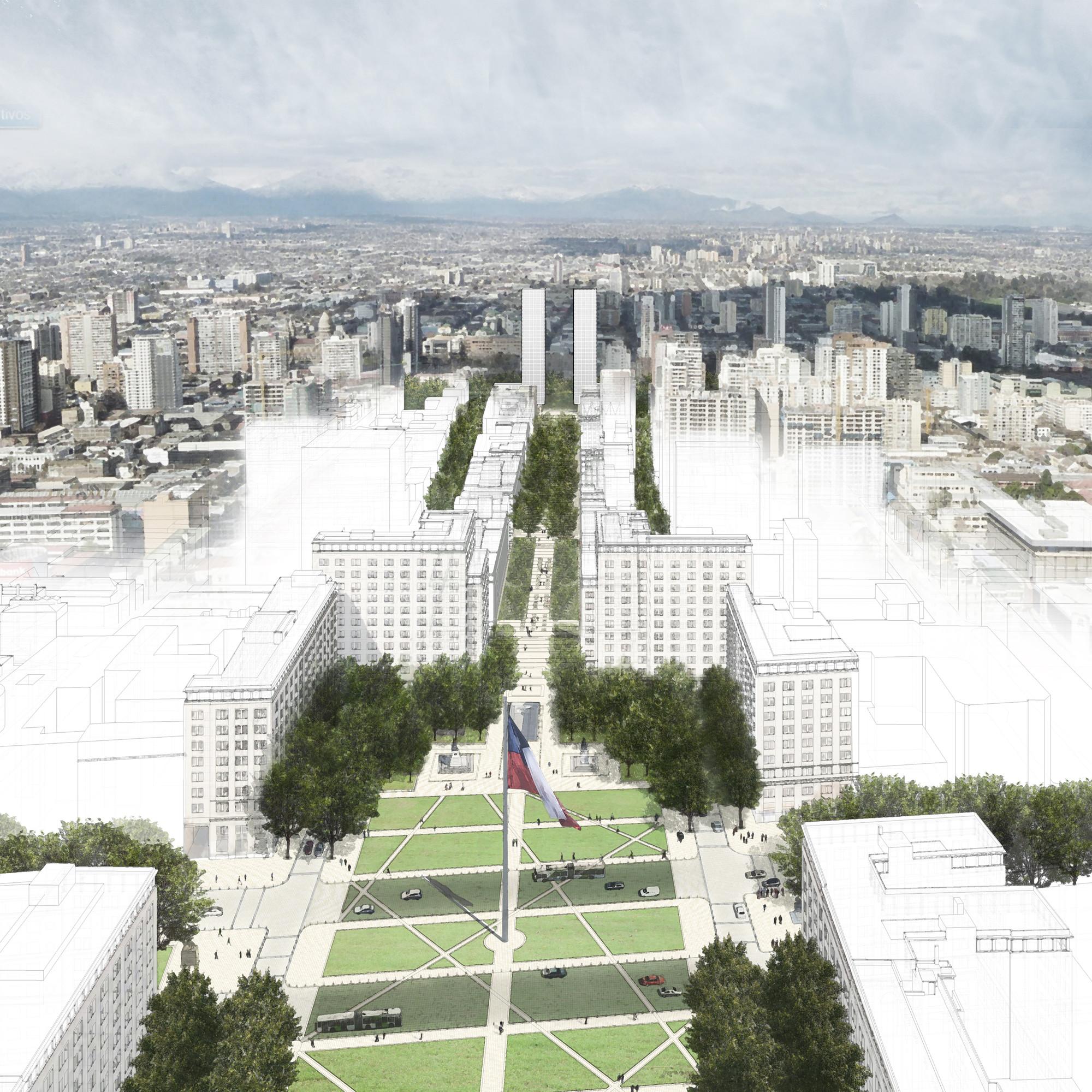 Resultados del Concurso Internacional de ideas para el Plan Maestro Eje Bulnes, Cortesia de Gobierno de Chile