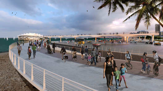 "According to thenewstpetepier.com, ""A visitor's first experience to the new Pier begins at the Welcome Mat. A circular round-about and a public piazza define the space, providing a transportation hub and space for outdoor events, such as farmer's markets and civic celebrations."" Photo © Michael Maltzan Architecture."