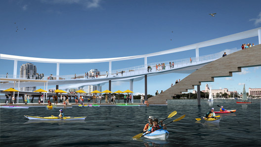 "According to newstpetepier.com, ""Within the closed loop of the new Pier, a sheltered harbor will house a circular floating dock marina. Built for non-motorized watercraft, The Pier will offer concessions for a variety of boats, from kayaks and paddle boats to stand-up paddle boards. This area also includes provisions for a concession stand, bait shop and restrooms."" Photo © Michael Maltzan Architecture."