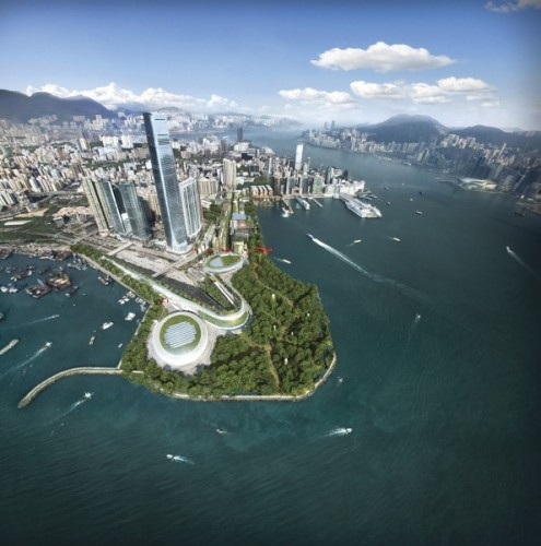 Foster + Partners' Masterplan for the West Kowloon Cultural District, entitled City Park. © Foster + Partners, by Methanoia