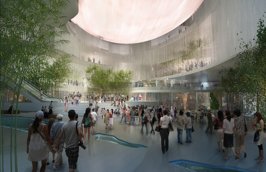 View of the Inner Atrium of the Xiqu Center, by Bing Thom Architects and Robert Lu & Partners. Photo © West Kowloon Cultural District Authority.