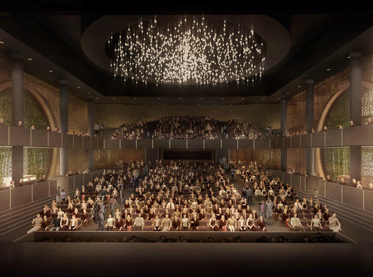 View from the stage, to the auditorium of the Xiqu Center, by Bing Thom Architects and Robert Lu & Partners. Photo © West Kowloon Cultural District Authority.