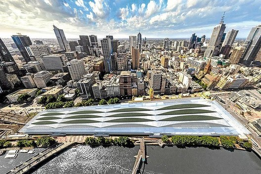 Artist aerial impression of architect Andrew Burns' design for Flinders Street Station, one of the designs which didn't make the short-list. Image via The Age.