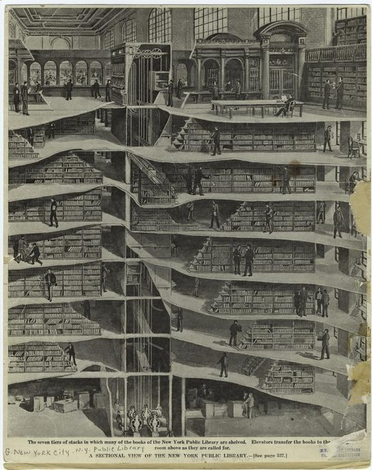 A sectional view of the New York Public Library. Cover of Scientific American, May 27, 1911. Image via the New York Public Library.