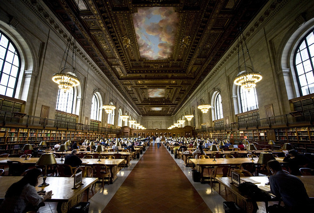The Rose Reading Room of the New York Public Library. Image via Flickr User Brother O'Mara. . Used under <a href='https://creativecommons.org/licenses/by-sa/2.0/'>Creative Commons</a>