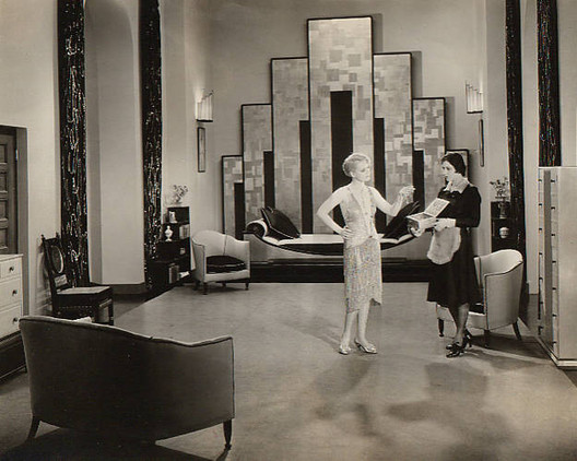 Cedric Gibbons used strong, geometric accents to achieve the Art Deco look of Our Dancing Daughters (1928). Image via Elle Decor.