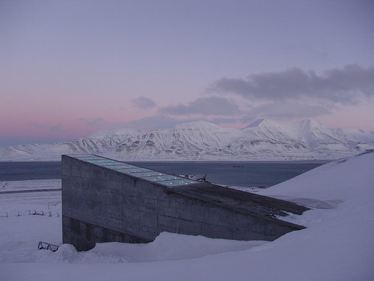 The Svalbard Global Seed Vault as seen at sunset. Image © Global Crop Diversity Trust