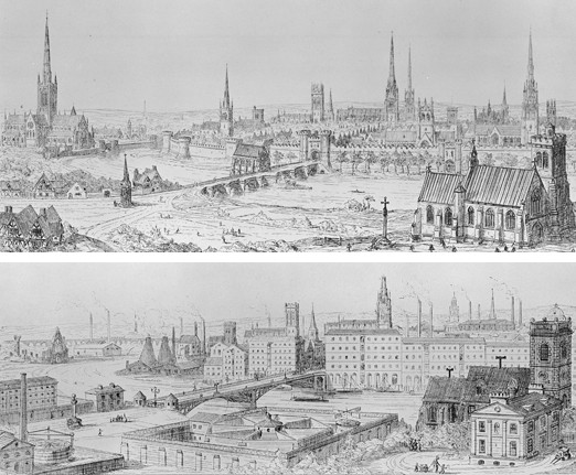 © From Contrasts: 'a Catholic town in 1440' (top) and 'a town in 1840' (bottom), 1836 Print Artist: Augustus Pugin © RIBA Library Photographs Collection