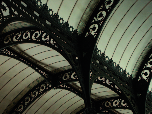Henri Labrouste (French, 1801-1875). Bibliothèque Sainte-Geneviève, Paris, 1838-1850. Steel trusses of the reading room. Bibliothèque Sainte-Geneviève. Photograph: Priscille Leroy.