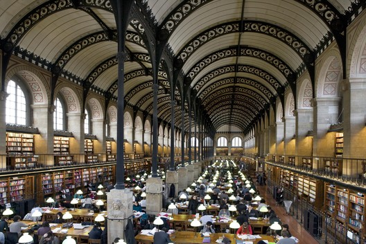 Henri Labrouste (French, 1801-1875). Bibliothèque Sainte-Geneviève, Paris, 1838-1850. View of the reading room. Bibliothèque Sainte-Geneviève. Photograph: Michel Nguyen.