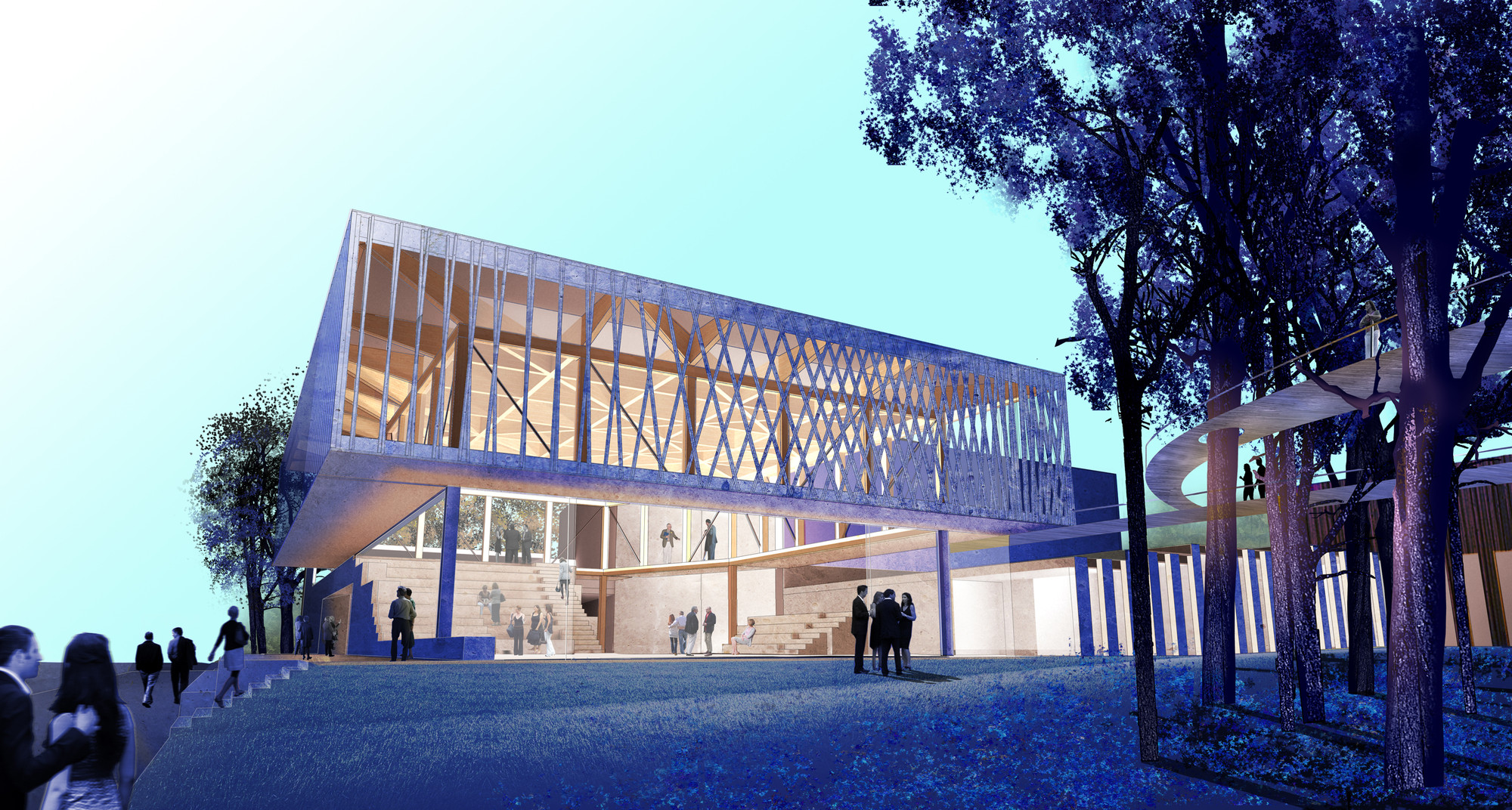 Studio Gang Breaks Ground on Chicago Writers' Theatre, Theatre Center East View from Green Bay Road