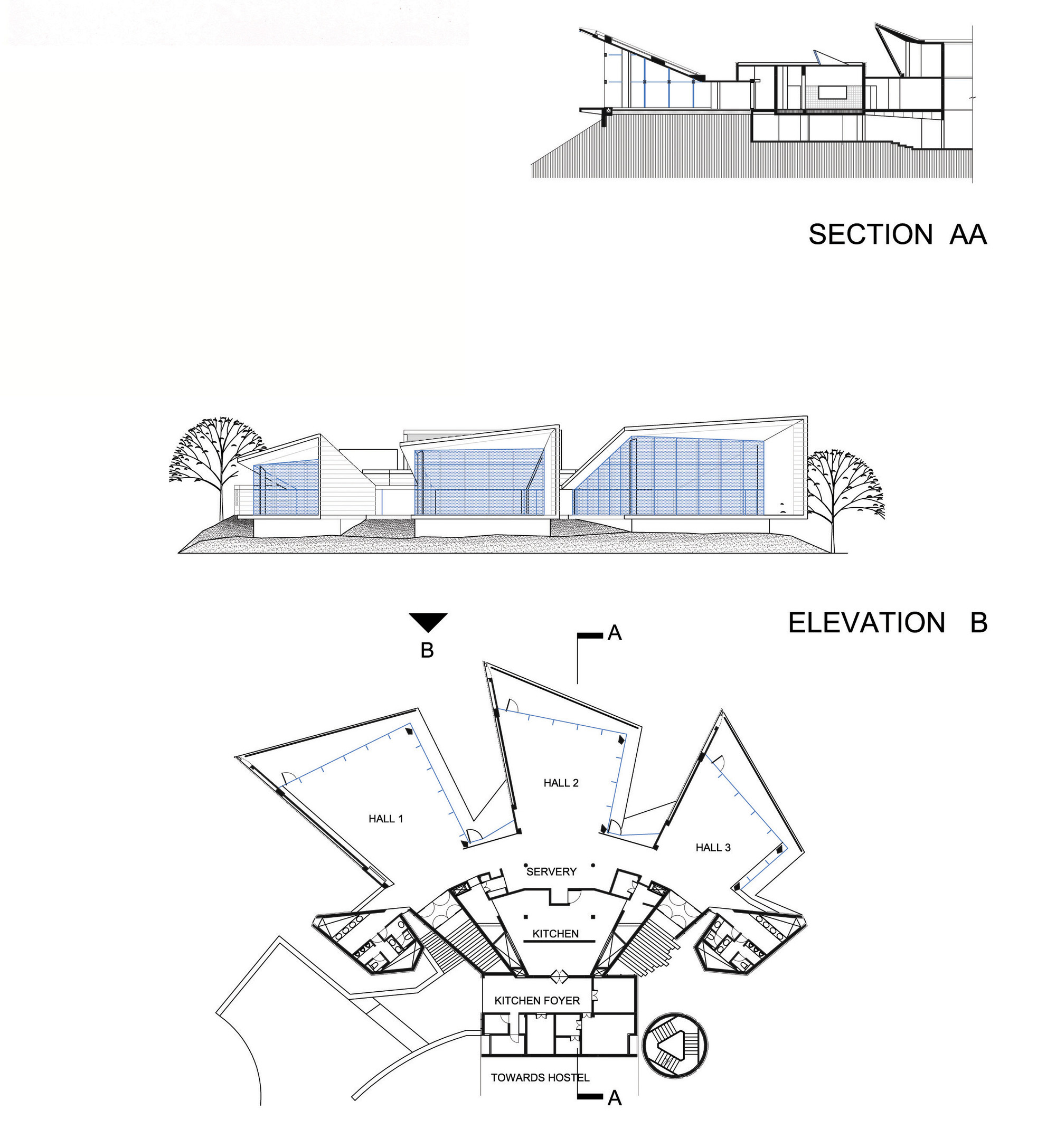 Ping Mall Plan Elevation Section : Plan elevation section