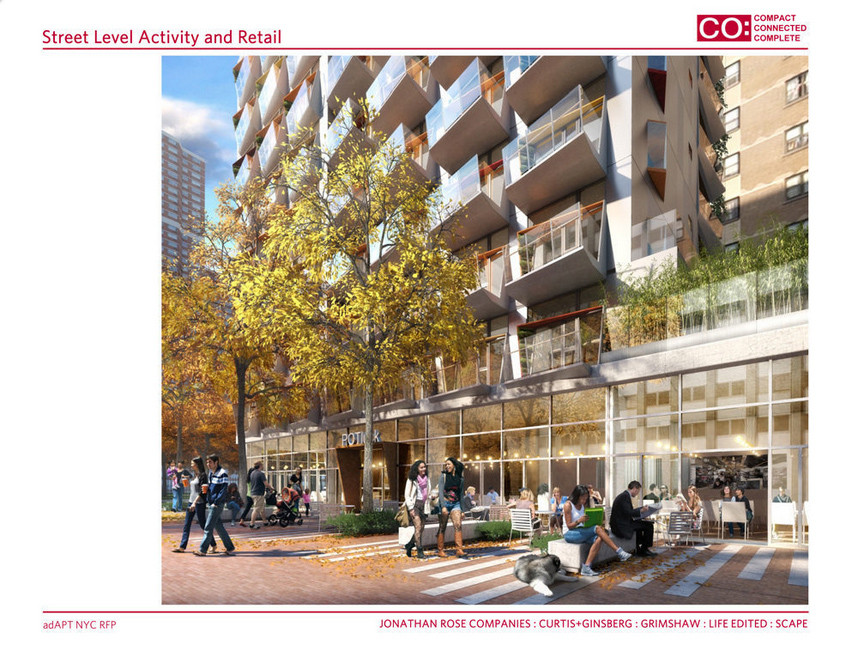 adAPT NYC Finalist CO /Jonathan Rose Companies, Curtis + Ginsberg, Grimshaw, Scape, and Life Edited; Images via CURBED