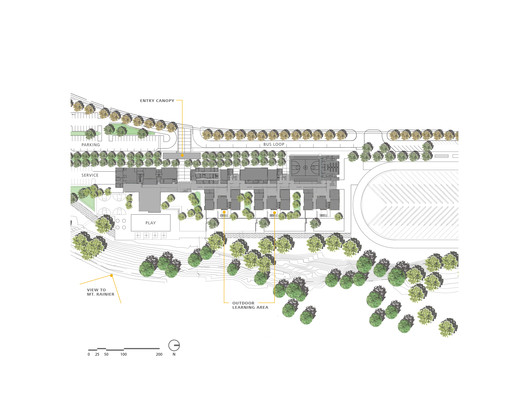Allow varied/multiple levels of access for public areas. Project Name: Gray Middle School, a Tacoma Public School. Plan by Mahlum.