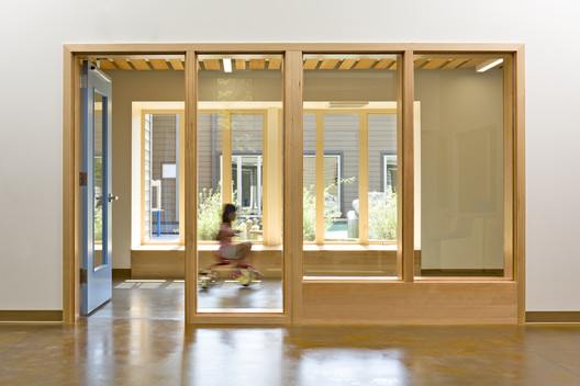 Clear sightlines allow parents to supervise their children without being in the same physical space. Project Name: Early Childcare Center, Mount Hood Community College. Photo by Lincoln Barbour.