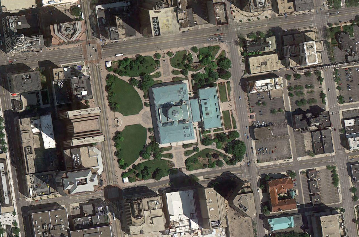 Libeskind Shortlisted for Ohio Statehouse Holocaust Memorial, Ohio Statehouse via Google Maps