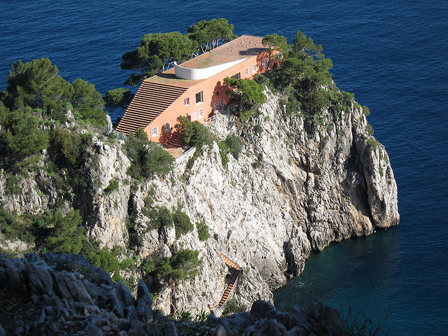 Casa Malaparte, given new life by Jean-Luc Godard's film Contempt. Image © Flickr User CC Sean Munson. Used under <a href='https://creativecommons.org/licenses/by-sa/2.0/'>Creative Commons</a>