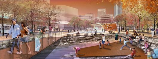 SCAPE's Masterplan for Lexington, Kentucky's Town Branch Commons. Image ©SCAPE/Landscape Architecture