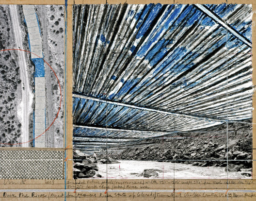 """© Over the River (Project for Arkansas River, State of Colorado) Collage 2009 11 x 14"""" (28 x 35.5 cm) Pencil, enamel paint, photograph by Wolfgang Volz, wax crayon, fabric sample, aerial photograph with topographic elevations and tape on tan board Photo: André Grossmann © 2009 Christo"""