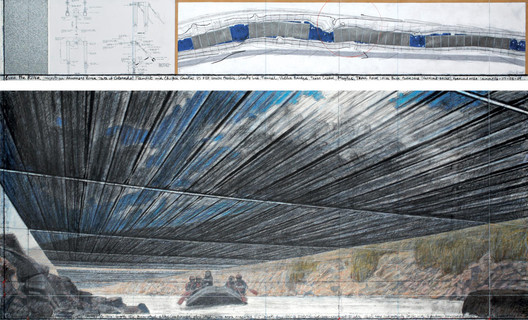 "© Over the River (Project for Arkansas River, State of Colorado) Drawing 2010 in two parts 15 x 96"" and 42 x 96"" (38 x 244 cm and 106.6 x 244 cm) Pencil, pastel, charcoal, wax crayon, enamel paint, wash, fabric sample, hand-drawn topographic map and technical data Photo: André Grossmann © 2010 Christo Ref. # 78"
