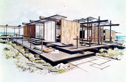 Outside In: The Architecture of Smith and Williams; Wayne Williams (1919–2007) and Whitney Smith (1911–2002), 3.Shoreline House for Orange County Home Show, Costa Mesa, California, 1957; Photograph by Jocelyn Gibbs, 2012 of a drawing by Al Spencer © Regents of the University of California