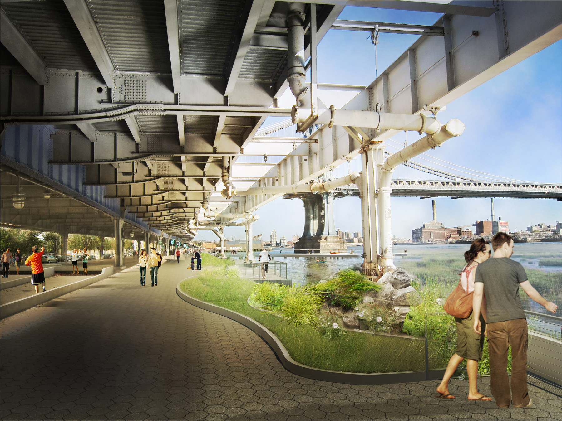 East River Blueway Plan / WXY Studio: New York City's Plan for Flood Barrier Along East River