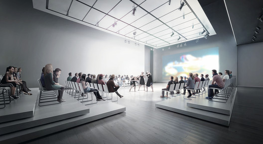 "Versatile ""white box"" space (interior view) on fourth floor of expanded SFMOMA will create new possibilities for live performance and education programs; rendering: Courtesy of MIR and Snøhetta"