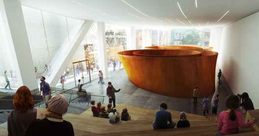 A large glass-walled gallery (interior view) on ground level with free public access will beckon passersby on Howard Street;  rendering: Courtesy of MIR and Snøhetta