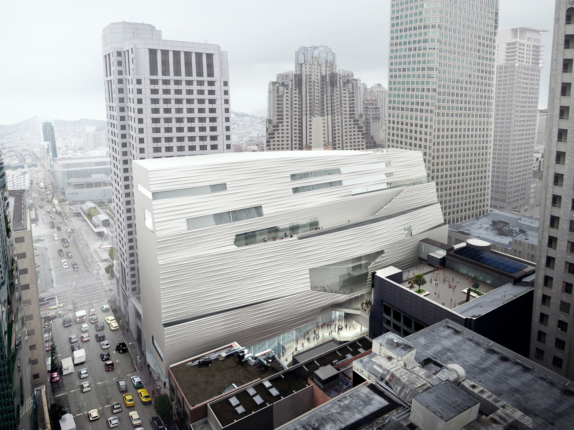 Update: SFMOMA Expansion / Snøhetta, SFMOMA Expansion Aerial Southeast Façade; Courtesy of MIR and Snøhetta