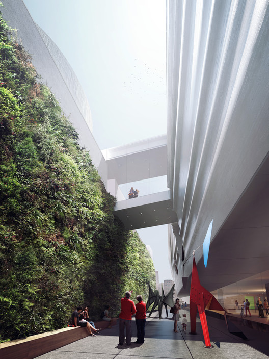 Sculpture terrace extending from Howard to Minna Streets will be framed on one side by a vibrant vertical garden; rendering: Courtesy of MIR and Snøhetta