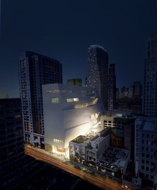 SFMOMA Expansion Night Aerial from Howard St.; Courtesy of MIR and Snøhetta