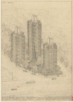 Torres vidriadas de 1930 diseñadas por Frank Lloyd Wright en East Village, Manhattan, Cortesia de MoMA