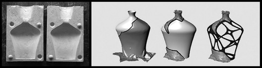 (left) Two negative parts of the vases' plaster mold, based on the positive MDF-milled mold. (right) The evolution of the design of the restorative elements using CAD software. (© Amit Zoran)
