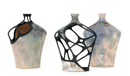 Three vases—the digitally restored vases (left and middle) and a complete one (right), 2010. Glazed ceramic, SLS nylon element, epoxy glue and black spray paint. (© Amit Zoran)