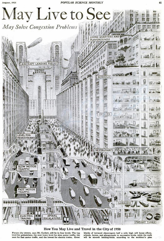 Harvey W. Corbett's American City of Tomorrow via TECHi